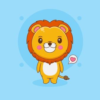 Ilustracja kreskówka słodkiego lwa