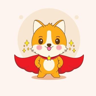 Ilustracja kreskówka słodkiego psa corgi z czerwonym płaszczem