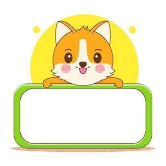 Ilustracja kreskówka słodkiego psa corgi z pustą tablicą