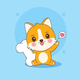 Ilustracja kreskówka słodkiego psa corgi