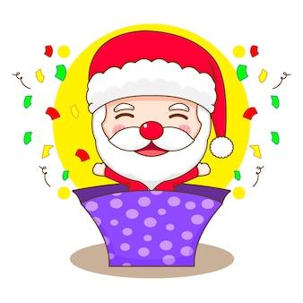 Ilustracja kreskówka słodkiego świętego mikołaja wyskoczyła z pudełka na prezenty chibi