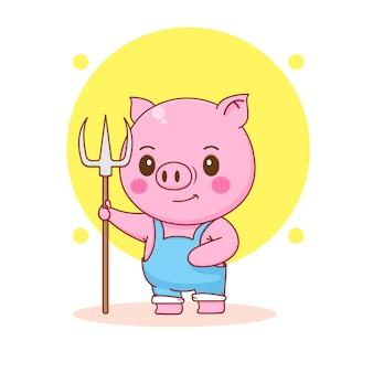 Ilustracja kreskówka słodkiej świni rolnika