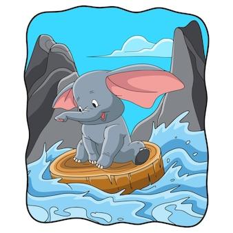 Ilustracja kreskówka słoń ciągnący drewno unoszące się w rzece