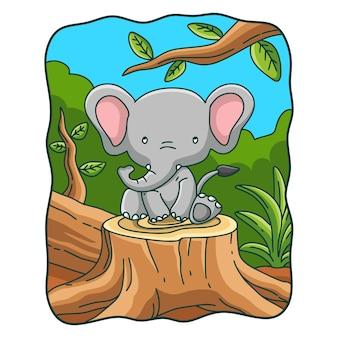 Ilustracja kreskówka słoń siedzący na wyciętym drzewie