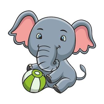Ilustracja kreskówka słoń siedzi trzymając piłkę