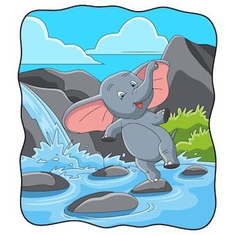 Ilustracja kreskówka słoń skaczący na skale rzeki