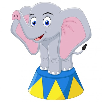 Ilustracja kreskówka słonia cyrku