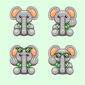 Ilustracja kreskówka słonia z letnią koszulę gotowy na światowy dzień oceanu