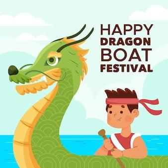 Ilustracja kreskówka smoczej łodzi