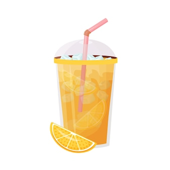 Ilustracja kreskówka soku pomarańczowego mrożony napój cytrusowy napój w plastikowym kubku ze słomką zimna lemoniada płaski kolor sezonowe letnie orzeźwienie na białym tle
