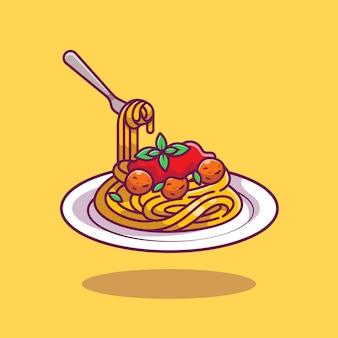 Ilustracja kreskówka spaghetti.