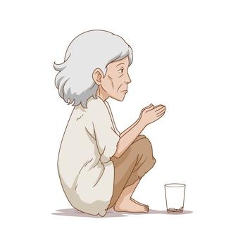 Ilustracja kreskówka starej żebraczki siedzącej na ziemi.