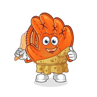 Ilustracja kreskówka starożytnych rękawic baseballowych