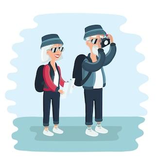Ilustracja kreskówka starszych turystów