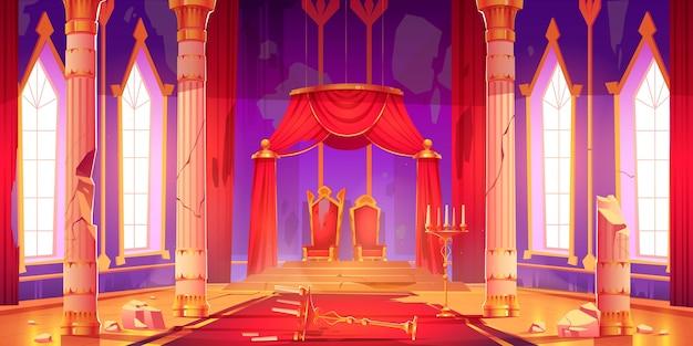 Ilustracja kreskówka stary zamek w sali