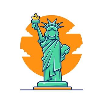 Ilustracja kreskówka statua wolności.