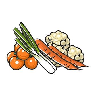 Ilustracja kreskówka stos warzyw