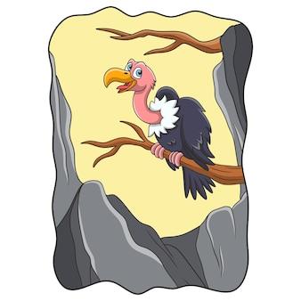 Ilustracja kreskówka struś siedzący na pniu drzewa w pobliżu skalnego klifu
