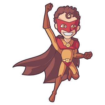 Ilustracja kreskówka superman w latającej pozyci.