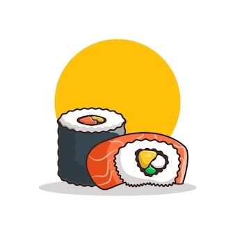 Ilustracja kreskówka sushi. koncepcja chiński nowy rok na białym tle. płaski styl kreskówki