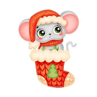 Ilustracja kreskówka świąteczna mysz w czerwonym kapeluszu i szaliku w czerwonej świątecznej skarpecie