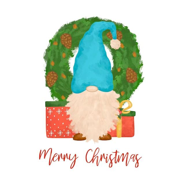 Ilustracja kreskówka świąteczny gnom na białym tle