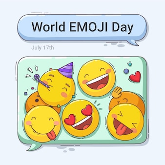 Ilustracja kreskówka światowy dzień emoji