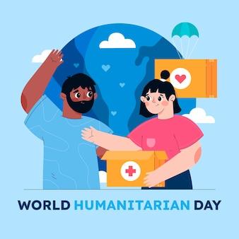 Ilustracja kreskówka światowy dzień humanitarny