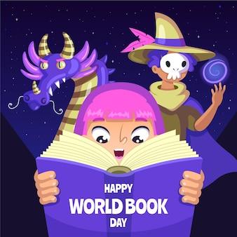 Ilustracja kreskówka światowy dzień książki