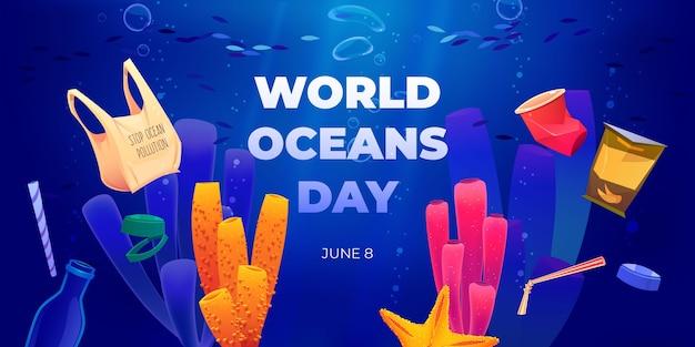 Ilustracja kreskówka światowy dzień oceanów