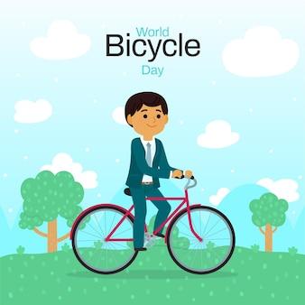 Ilustracja kreskówka światowy dzień roweru