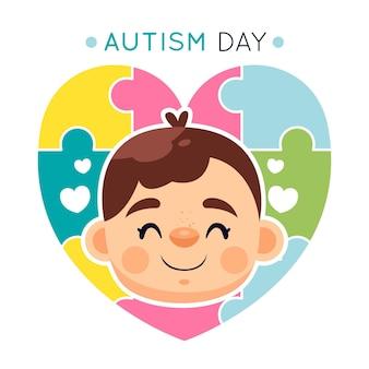 Ilustracja kreskówka światowy dzień świadomości autyzmu