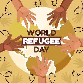 Ilustracja kreskówka światowy dzień uchodźcy