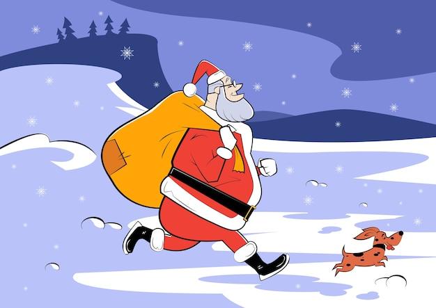 Ilustracja kreskówka świętego mikołaja z worek prezentów i małego psa. szkic ilustracji