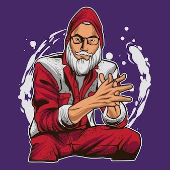 Ilustracja kreskówka świętego mikołaja