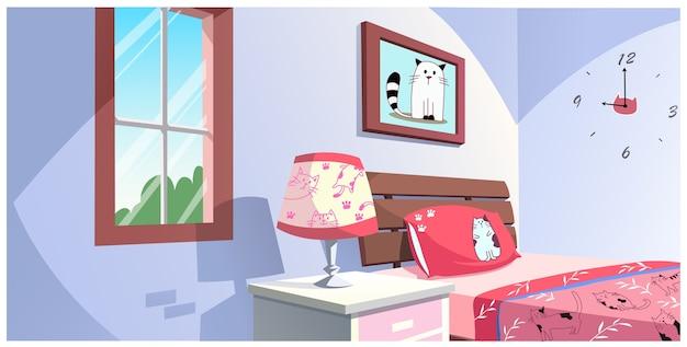 Ilustracja kreskówka sypialni