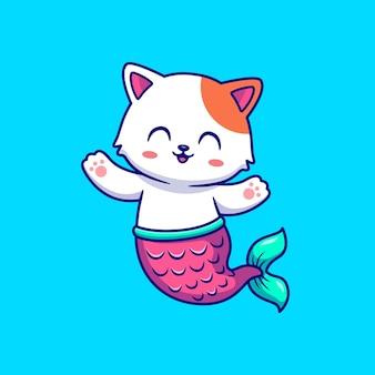 Ilustracja kreskówka syrenka ładny kot. pojęcie natury zwierzęcej na białym tle. płaski styl kreskówki