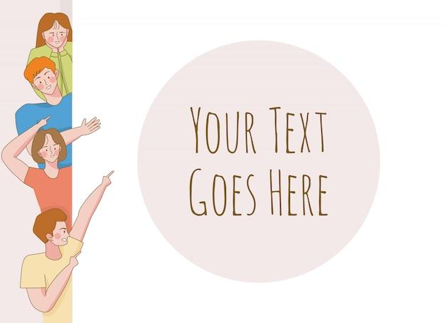 Ilustracja kreskówka szablon młodzieży. nastolatek z obszarem tekstu