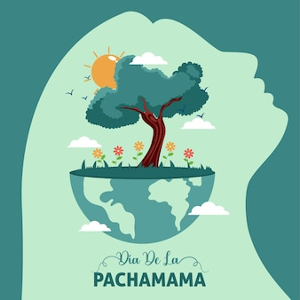 Ilustracja kreskówka szablonu transparentu dia de la pachamama