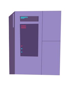 Ilustracja kreskówka szafy serwerowej. sprzęt internetowy do przechowywania i przetwarzania informacji, bazy danych