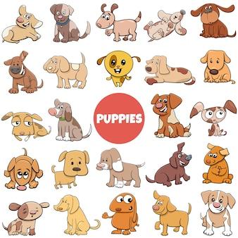 Ilustracja kreskówka szczeniaka pies komiks postaci zwierząt duży zestaw