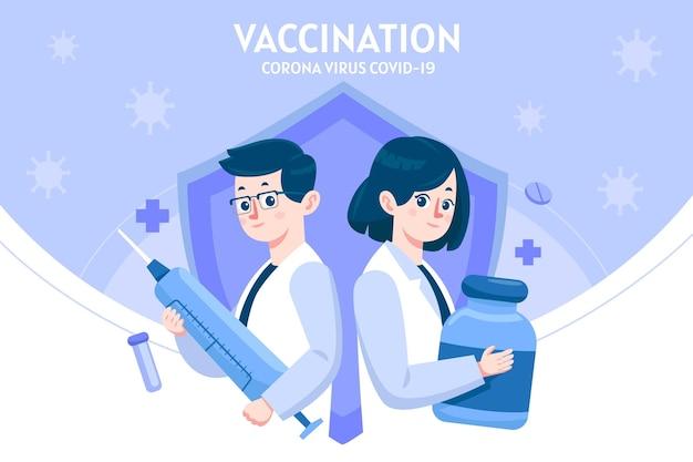 Ilustracja kreskówka szczepionki koronawirusa
