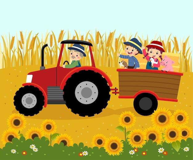Ilustracja kreskówka szczęśliwego rolnika w podeszłym wieku prowadzącego ciągnik z dziećmi i bel słomy na przyczepie z pszenicy leciał w tle.