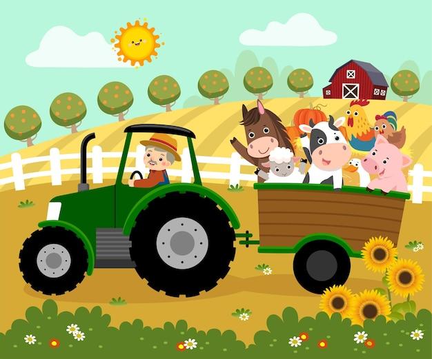 Ilustracja kreskówka szczęśliwego rolnika w podeszłym wieku prowadzącego ciągnik z przyczepą przewożącą zwierzęta gospodarskie w gospodarstwie.