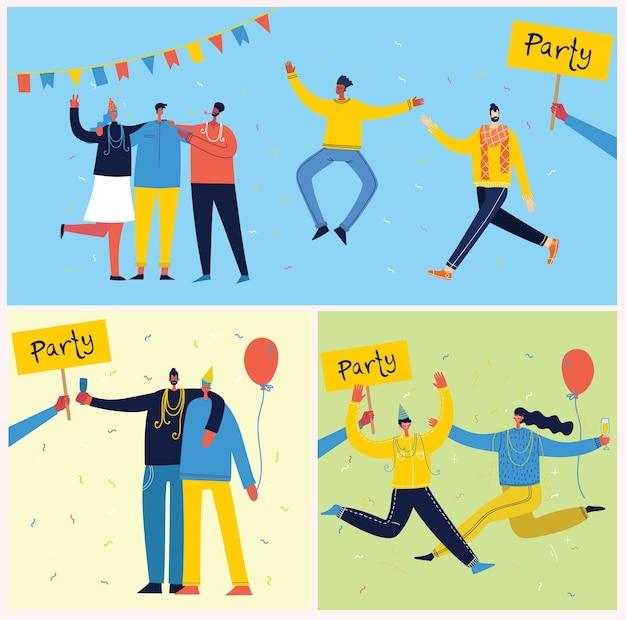 Ilustracja kreskówka szczęśliwej grupy ludzi świętujących, skaczących na imprezie.