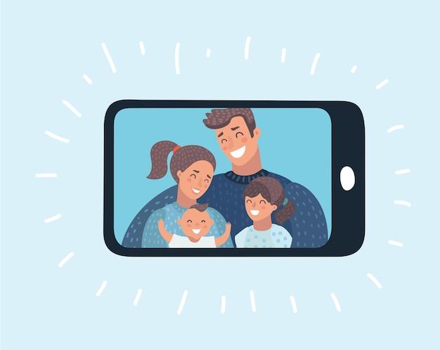 Ilustracja kreskówka szczęśliwej rodziny pic na wyświetlaczu smartfona