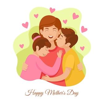 Ilustracja kreskówka szczęśliwy dzień matki