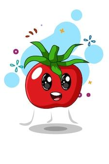 Ilustracja kreskówka szczęśliwy pomidor