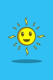 Ilustracja kreskówka szczęśliwy słońce