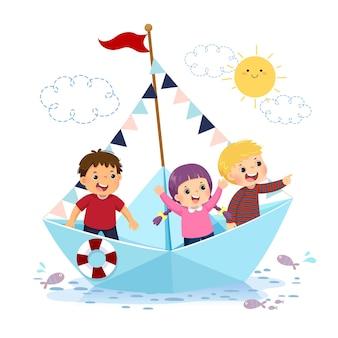Ilustracja kreskówka szczęśliwych dzieci pływających na papierowej łodzi na wodzie.
